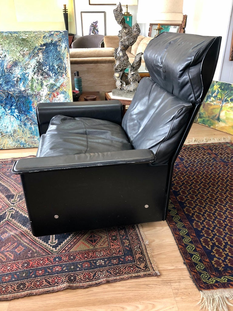 Vintage Dieter Rams Model 620 for Vitsoe Black Leather Lounge Chair and Ottoman 3