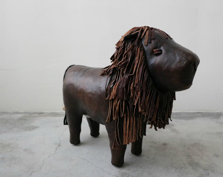 Mid-Century Modern Vintage Dimitri Omersa Leather Lion Foot Stool For Sale