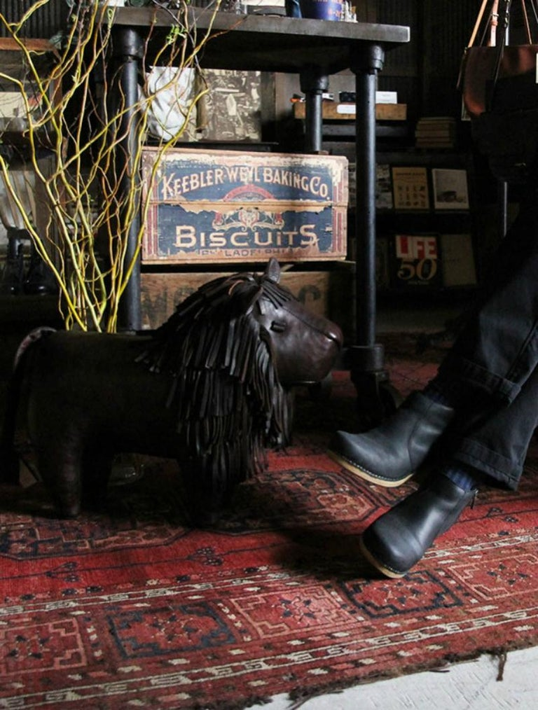 Vintage Dimitri Omersa Leather Lion Foot Stool For Sale 2