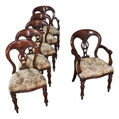 Vintage Dining Chair Set, English, Mahogany, Carver, 6, Regency Revival