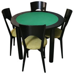 Vintage Dining Chairs and Table in Black Wood and Green Fabric 1980s, Set of 5