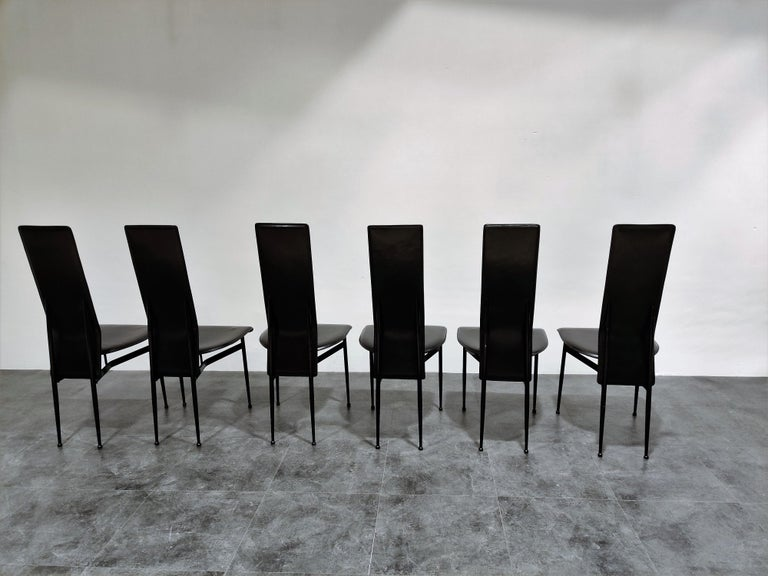 Mid-Century Modern Vintage Dining Chairs by Giancarlo Vegni for Fasem, Set of 6, 1980s
