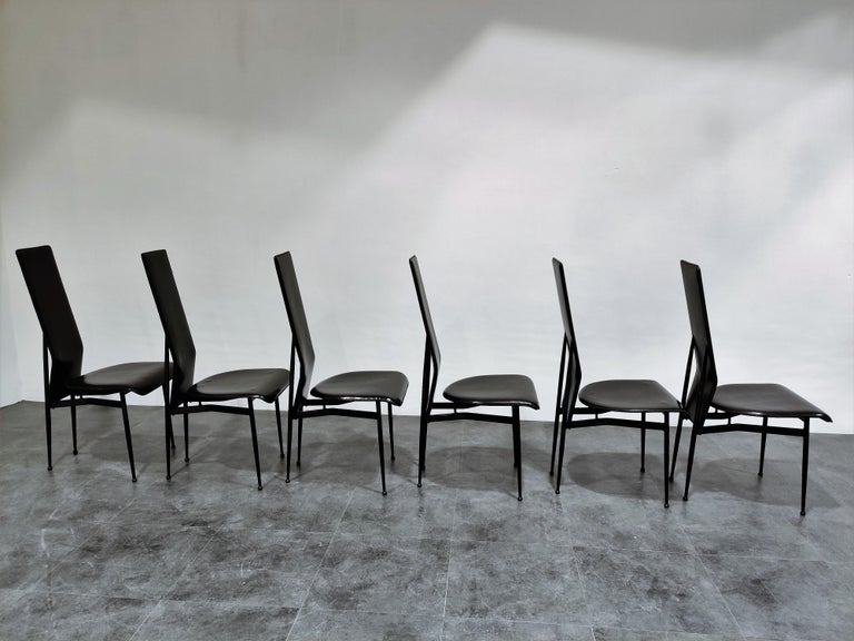 Italian Vintage Dining Chairs by Giancarlo Vegni for Fasem, Set of 6, 1980s