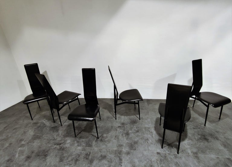 Lacquered Vintage Dining Chairs by Giancarlo Vegni for Fasem, Set of 6, 1980s