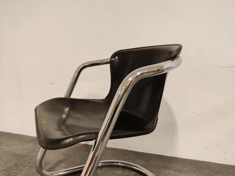 Vintage Dining Chairs by Willy Rizzo for Cidue Set of 4, 1970s For Sale 6