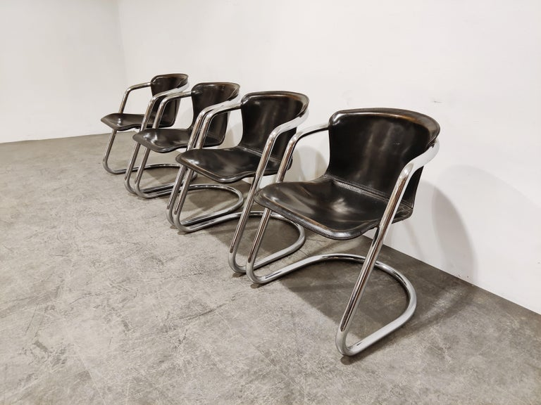 Mid-Century Modern Vintage Dining Chairs by Willy Rizzo for Cidue Set of 4, 1970s For Sale