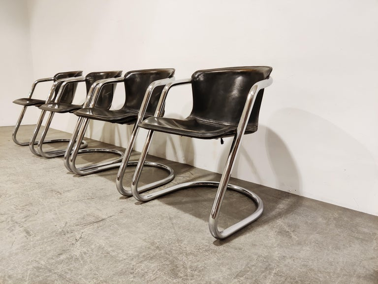 Italian Vintage Dining Chairs by Willy Rizzo for Cidue Set of 4, 1970s For Sale