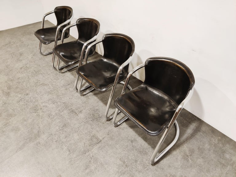 Vintage Dining Chairs by Willy Rizzo for Cidue Set of 4, 1970s In Good Condition For Sale In Ottenburg, BE