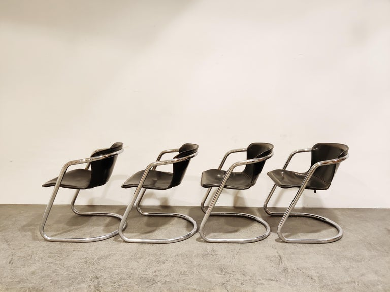 Late 20th Century Vintage Dining Chairs by Willy Rizzo for Cidue Set of 4, 1970s For Sale