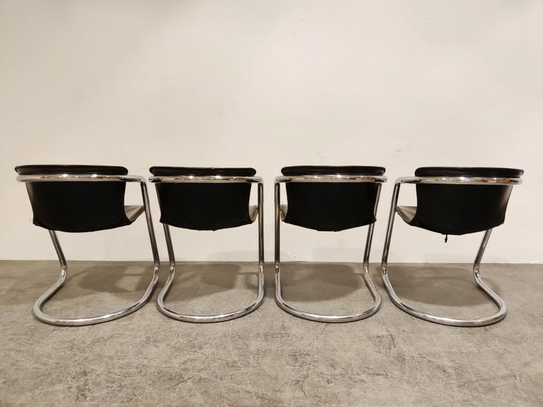 Leather Vintage Dining Chairs by Willy Rizzo for Cidue Set of 4, 1970s For Sale