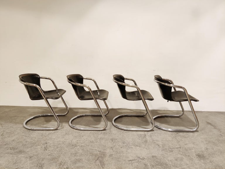 Vintage Dining Chairs by Willy Rizzo for Cidue Set of 4, 1970s For Sale 1