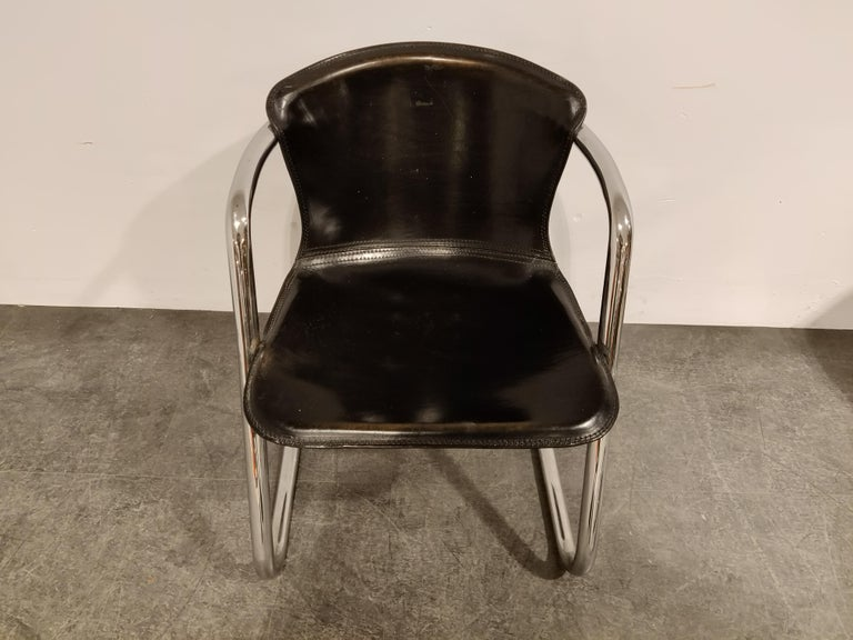 Vintage Dining Chairs by Willy Rizzo for Cidue Set of 4, 1970s For Sale 2