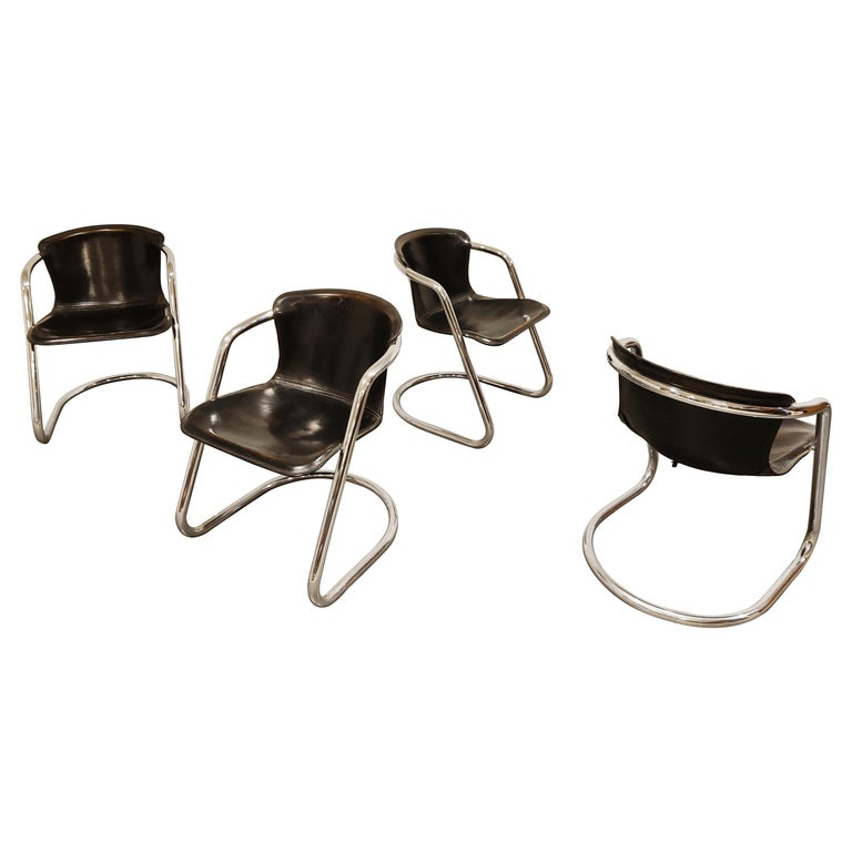 Vintage Dining Chairs by Willy Rizzo for Cidue Set of 4, 1970s For Sale