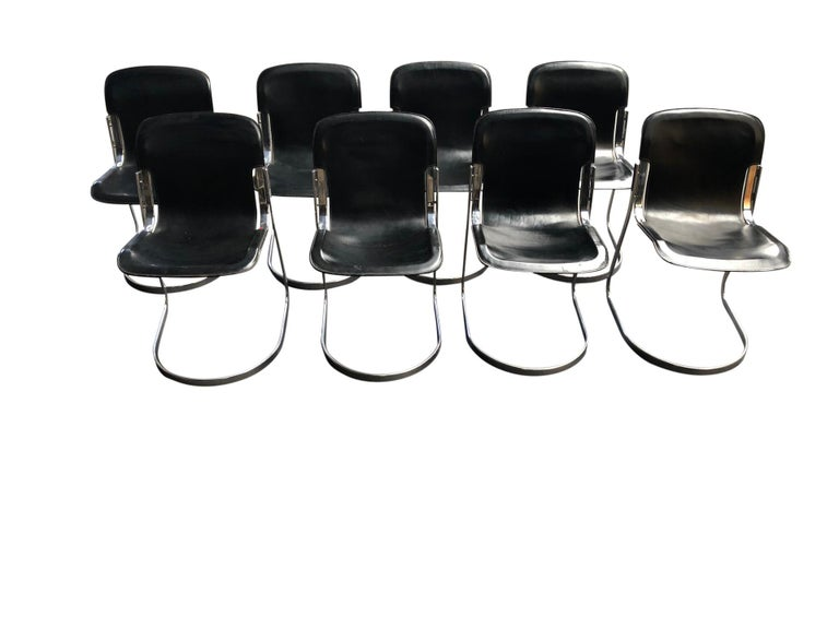 Italian Vintage Dining Chairs by Willy Rizzo for Cidue Set of 8, 1970s For Sale