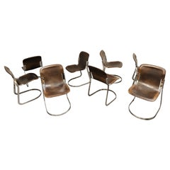 Vintage Dining Chairs by Willy Rizzo for Cidue Set of 8, 1970s