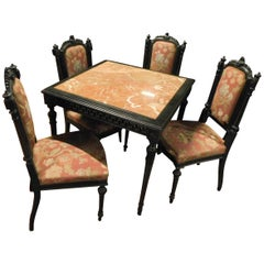 Vintage Dining Set, a Table and 6 Chairs, Black and Red, 1940, Italy