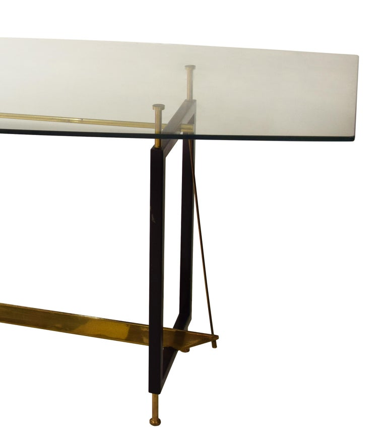 Lacquered metal and brass with glass top. Very good conditions.  This object is shipped from Italy. Under existing legislation, any object in Italy created over 70 years ago by an artist who has died requires a licence for export regardless of