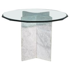 Vintage Dining Table in Marble and Glass