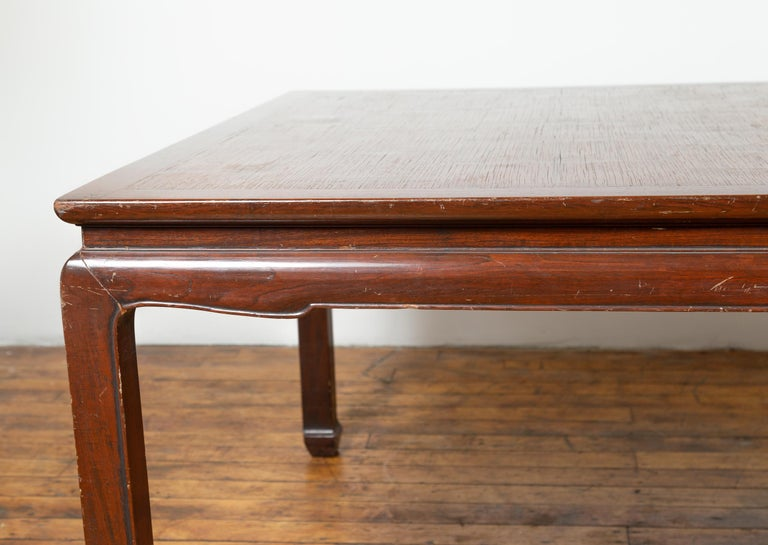 Vintage Dining Table with Open Mat Top Inlay, Arched Apron and Horsehoof Legs In Good Condition For Sale In Yonkers, NY