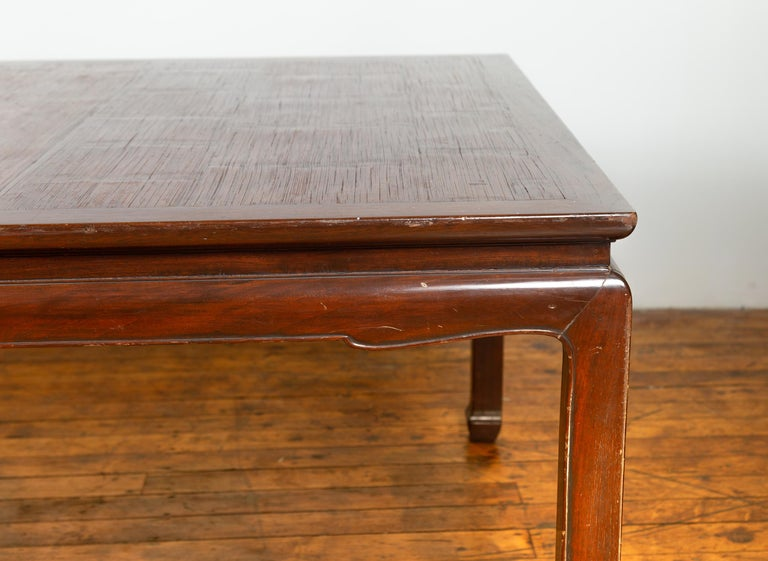 20th Century Vintage Dining Table with Open Mat Top Inlay, Arched Apron and Horsehoof Legs For Sale