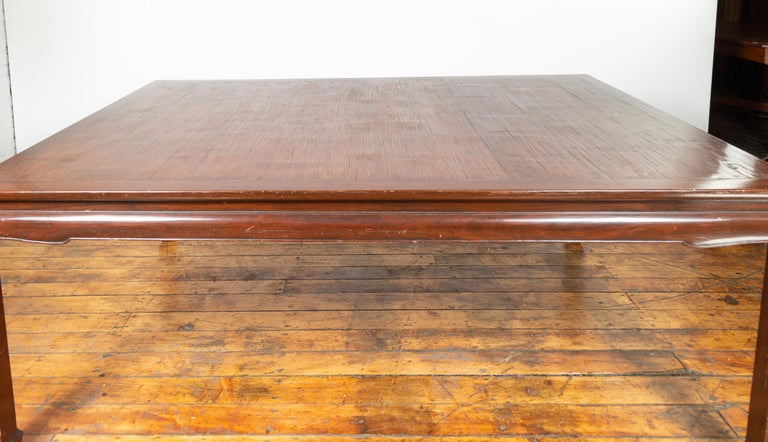 Wood Vintage Dining Table with Open Mat Top Inlay, Arched Apron and Horsehoof Legs For Sale