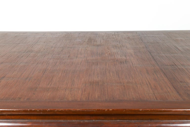 Vintage Dining Table with Open Mat Top Inlay, Arched Apron and Horsehoof Legs For Sale 1
