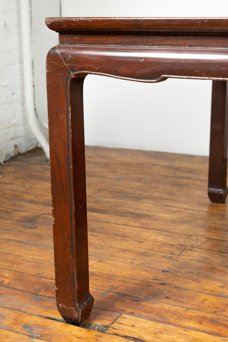 Vintage Dining Table with Open Mat Top Inlay, Arched Apron and Horsehoof Legs For Sale 2
