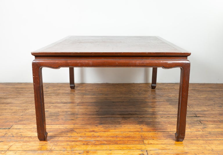 Vintage Dining Table with Open Mat Top Inlay, Arched Apron and Horsehoof Legs For Sale 3