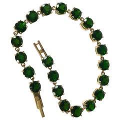 Vintage Diopside and 9 Carat Gold Bracelet