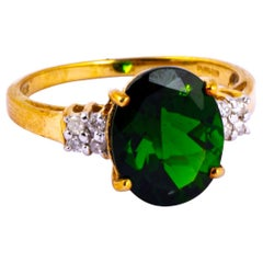 Vintage Diopside and Diamond 9 Carat Gold Solitaire Ring