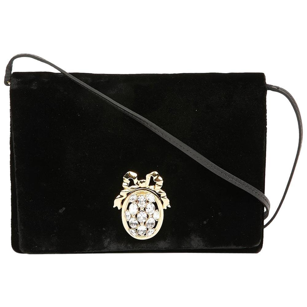 Vintage Dior Black Evening Bag With Rhinestones