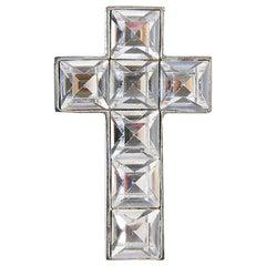 Vintage DIOR Cross Brooch Pendant In Swarovski Rhinestones