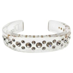 Vintage Dior Crystal Arc Cuff In Resin 1990s