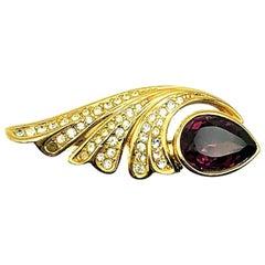Vintage Dior Gold & Amethyst Crystal Plume Brooch 1980s