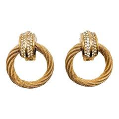Vintage Dior Gold & Crystal Rope Hoop Earrings 1980s