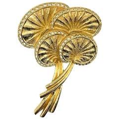 Vintage Dior Gold & Crystal Stylised Palm Leaf Brooch 1980s