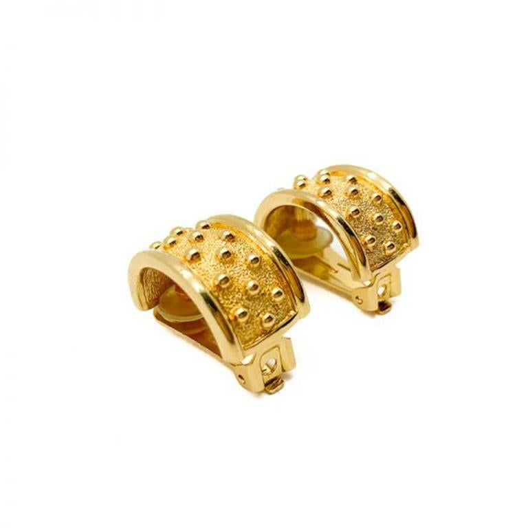 Vintage Dior Gold Curve Bobble Earrings 1980s In Good Condition For Sale In Wilmslow, GB