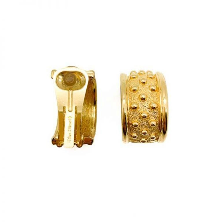 Women's Vintage Dior Gold Curve Bobble Earrings 1980s For Sale