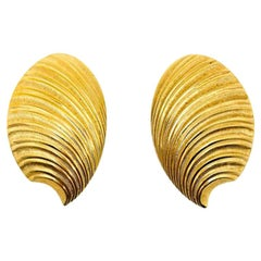 Vintage Dior Gold Shell Statement Earrings 1980s