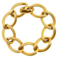 Vintage Dior Gold Textured Freeflowing Curb Bracelet 1970s