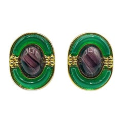 Vintage Dior Purple & Green Deco Inspired Glass Earrings 1971