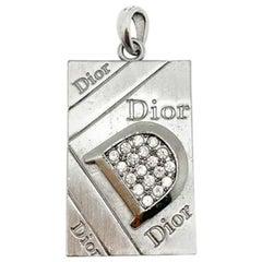 Vintage Dior Silver Rhinestone Logo Pendant 1990s