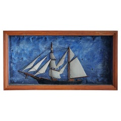Vintage Diorama of a Sailing Schooner in Wooden Frame, USA, 1920's