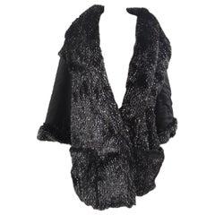 Vintage Dirada black silver faux fur coat