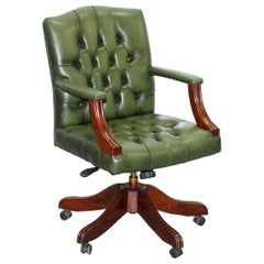 Vintage Directors Green Leather Chesterfield Captains Chair Solid Wood Frame