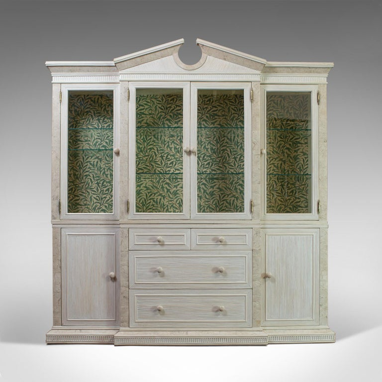 Classical Roman Vintage Display Cabinet, English, Beech, Travertine, Breakfront, Classical For Sale