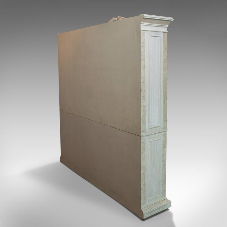 20th Century Vintage Display Cabinet, English, Beech, Travertine, Breakfront, Classical For Sale