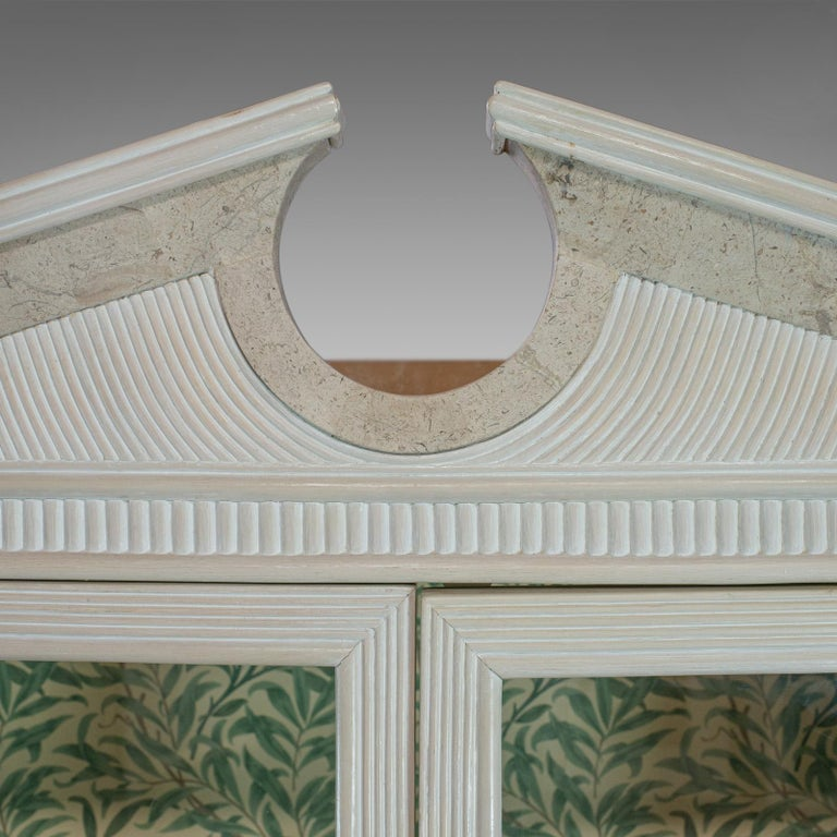 Vintage Display Cabinet, English, Beech, Travertine, Breakfront, Classical For Sale 1