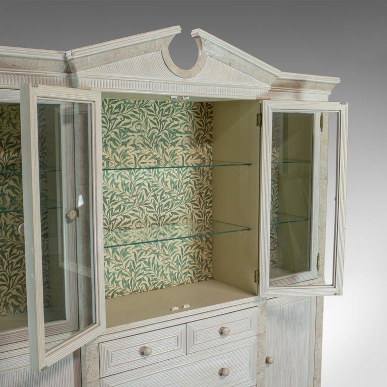Vintage Display Cabinet, English, Beech, Travertine, Breakfront, Classical For Sale 3