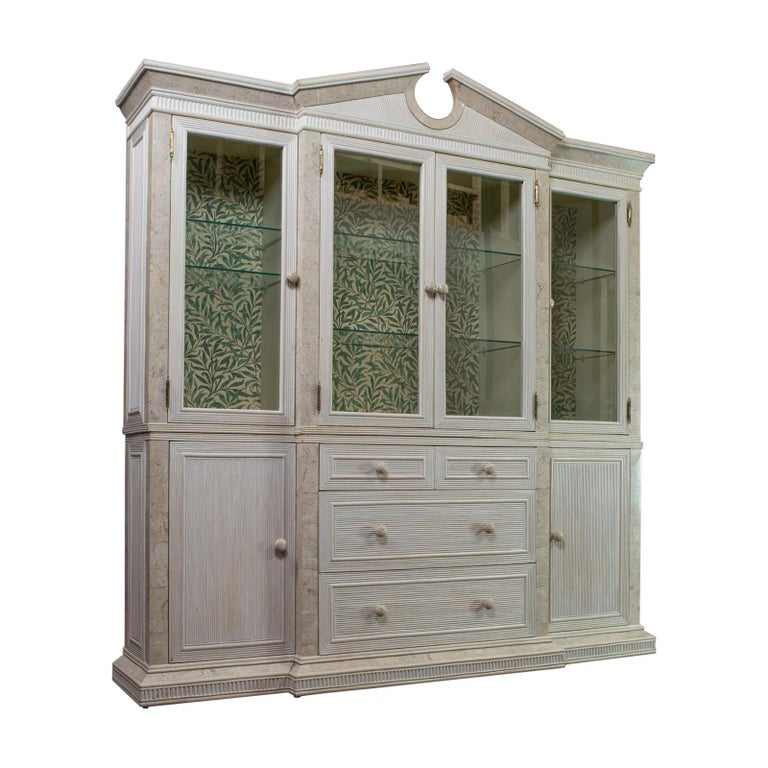Vintage Display Cabinet, English, Beech, Travertine, Breakfront, Classical For Sale